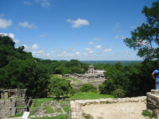 National Park of Palenque: vista desde el tempo principal del cerro de la cruces construido por el sucedor de pakal.