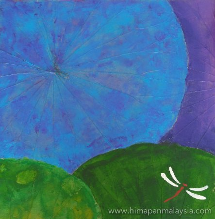 Acrylic painting on lotus leaf canvas with dragonfly stencil