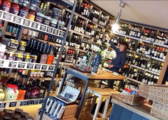 Frodsham, UK: View over from the deli shelves over to the wine area