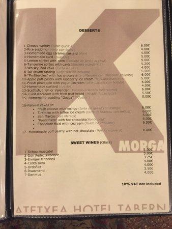 Morga, España: menu