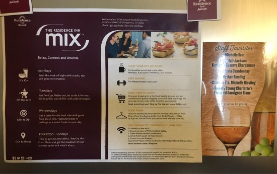 residence inn dfw airport north grapevine flyer on room fridge promoting the evening reception