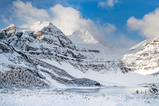 Mount Assiniboine Provincial Park, Canada: The view from the lodge after a September snow storm.