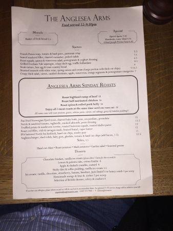 Anglesea Arms: The Menu
