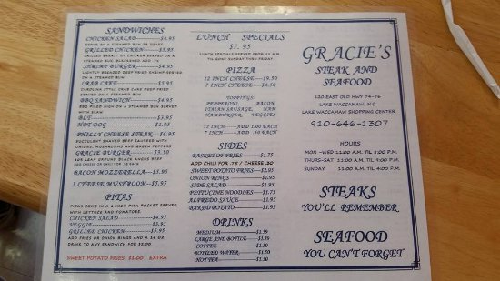 Lake Waccamaw, Kuzey Carolina: front menu