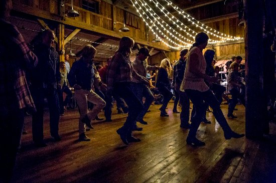 The Ranch at Rock Creek: Line dancing during a summer barn dance.