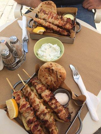 Pane e Souvlaki: chicken souvlaki portion (3 skewers, fries, pita & a sauce) + tzatziki