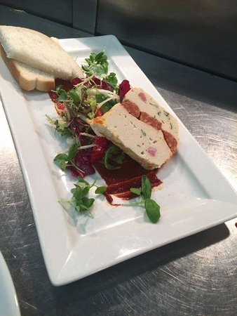 Saltcoats, UK: Chicken, chorizo and coriander terrine with crusty bread and chilli salsa.