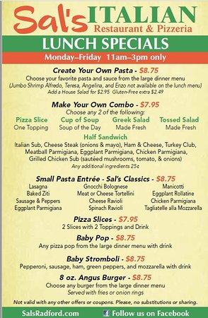 Radford, VA: Page 1 of our lunch menu
