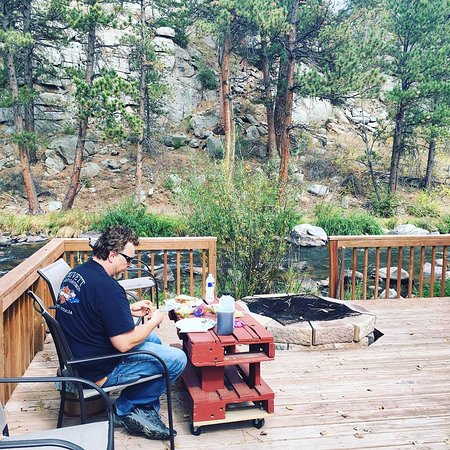 Dripping Springs Resort: community deck with fire pit