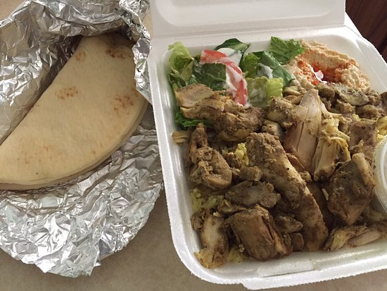 Mary's Mediterranean Kitchen: Chicken Shawarma Plate with rice, salad, pita bread and hummus - excellent and $9+!
