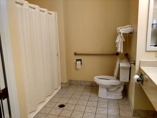 a roll-in shower in our king disability-equipped room is easy for ...