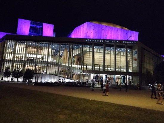 Palast der Künste (Művészetek Palotája): Night time exterior photo