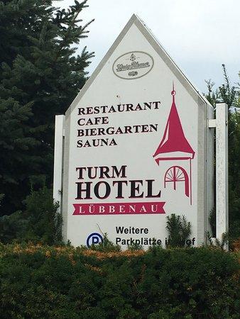 Turmhotel Lubbenau: Hotel sign