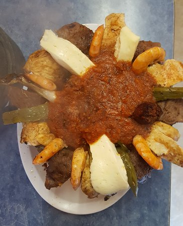 San Fernando, CA: The molcajete: Beef, chicken, shrimp, nopales and queso fresco