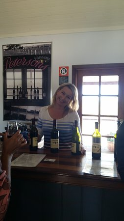 The extremely friendly and helpful Alyson at the Cellar Door