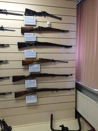 Lithgow, Australia: This one of the many rows of rifels on display.