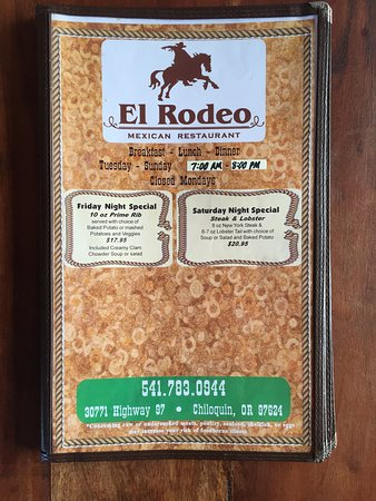 El Rodeo Mexican Restaurant: Weekend Dinner Specials