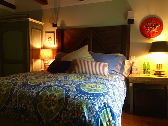 Millbrook, นิวยอร์ก: Woodland Room Queen Bed, repurposed Barn Door headboard!