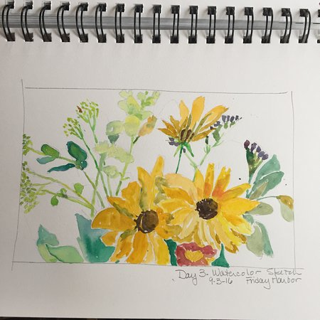 The Kirk House Bed & Breakfast: There were fresh flowers in the rooms and on the dining tables. I did a watercolor sketch!