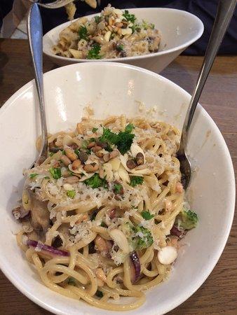 Hasta La Pasta Salmon And Broccoli Pasta In Foreground Mushroom Pasta Broccoli