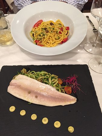 Trattoria la Fiasca: Trout fillet with courgette spaghetti plus other flavours I can't remember.