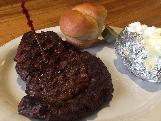Dana, IN: Our 12oz ribeye's with homemade roll and baked potato.  Steaks and BBQ on friday and Saturday ni