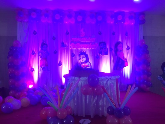 nk grand park hotel banquet hall stage decoration for birthday event on 04102016