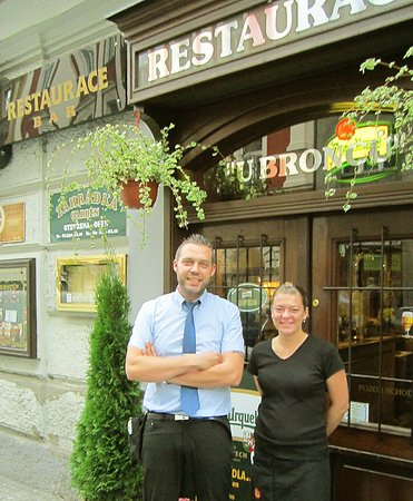 U Broncu: Servers Pavel and Tereza in front of the restaurant