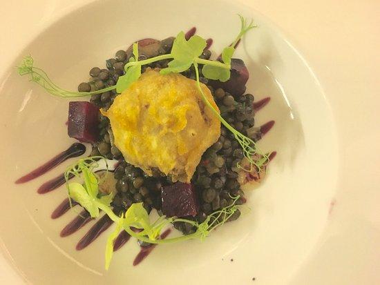 Shepton Mallet, UK: Pulled pork and apple fritter, lentils, beetroot, apple gel - tapas menu
