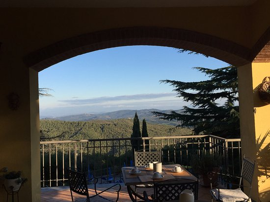 Villa Sant'Uberto Country Inn: This is the view from the outdoor covered terrace, for breakfast, cocktails or lounging!