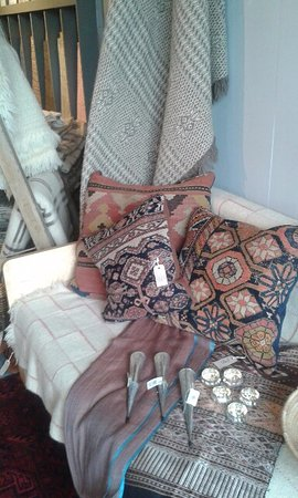 Presteigne, UK: Amazing cushion covers made at the Workhouse