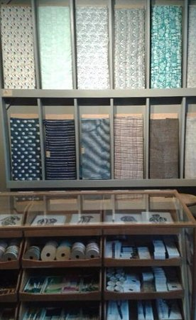 Presteigne, UK: Bolts of fabric and haberdashery
