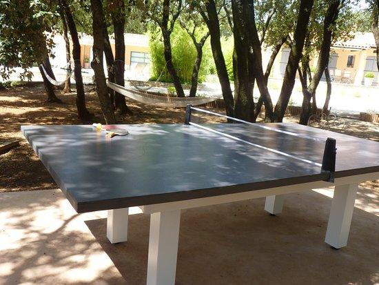Colonzelle, France: Une partie de ping pong à l'ombre des ch^nes verts