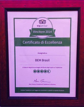 Certificato di eccellenza Bem Brasil.