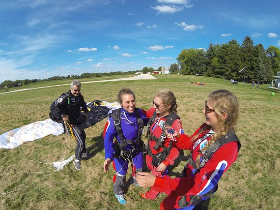 Jefferson, WI: My daughters and me with Bo after a perfect landing.