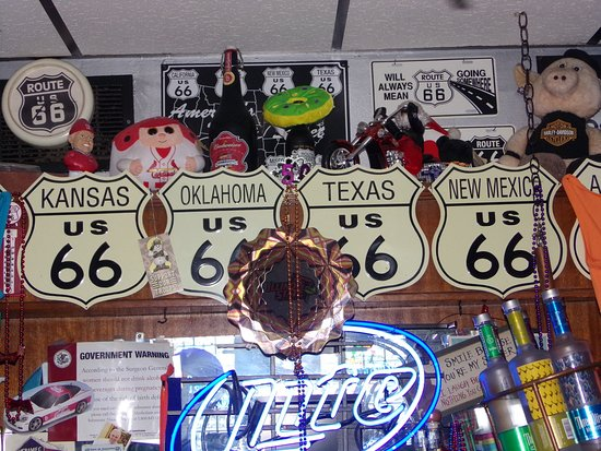 Hamel, IL: Above the bar at Weezy's Route 66 Bar and Grill