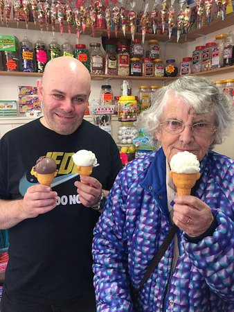 Driffield, UK: 89 year old mother in law with a Trillo's vanilla ice-cream in a teddy bear cone!