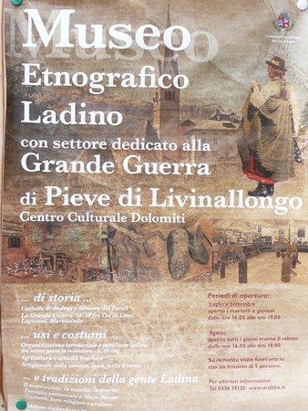 Livinallongo del Col di Lana, Italie : einladende Plakatwerbung