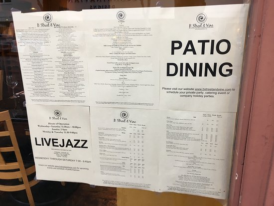 San Mateo, CA: The Menu Outside The Building