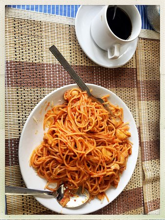 Jomsom, Nepal: Yummy tomato spaghetti with mushroom