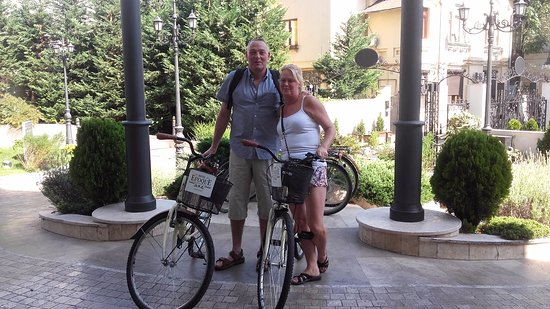 Epoque Hotel: offf on our bikes. courtesy of the Hotel Epoque to see the city of Bucharest.