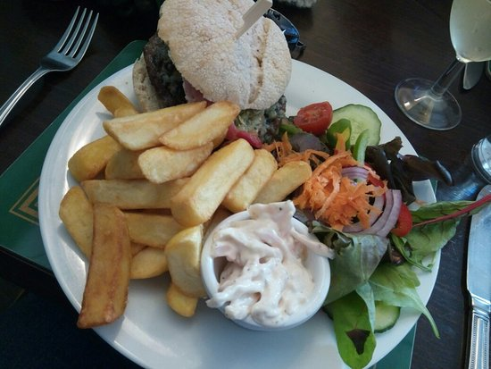 Wigston, UK: Burger and chips, scampi and chips