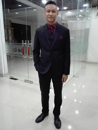 Black suit with red dress shirt and black tie - Picture of Bebe ...