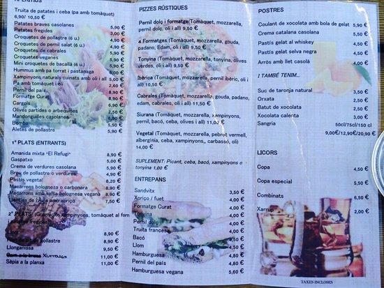 Siurana, Spanien: На фото меню ресторана Refugi Ciriac Bonet