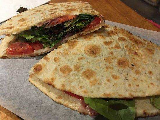 Tomaso Grilled Pizza and Panini : Delicious new menu items at Tomaso. Potato pizza, piadina flatbread, Sicilian style personal piz