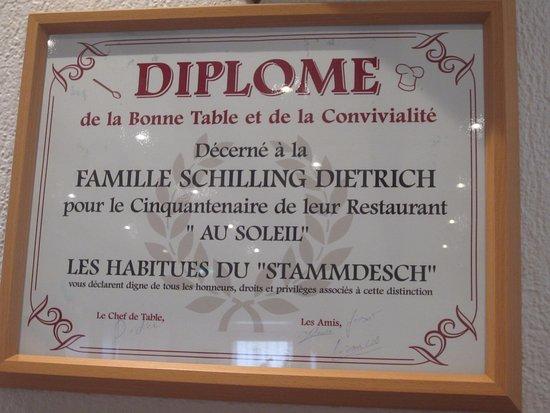 Wettolsheim, Frankreich: Diplôme bien mérité