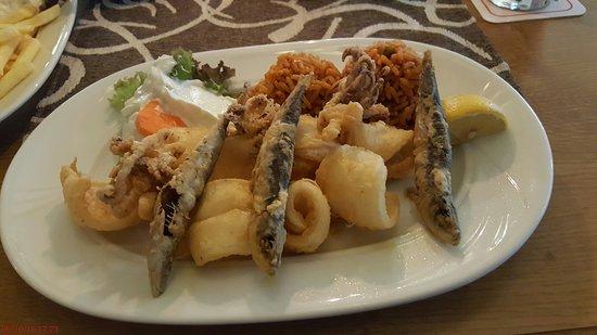 Oberasbach, Duitsland: Sardellen mit Calamari Tzatziki, Tomatenreis und Beilagensalat