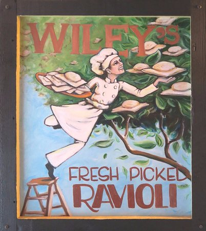 Wiley's Trattoria: A bit of insight from the old Wiley's World, where ravioli grows on trees, now on the ceiling