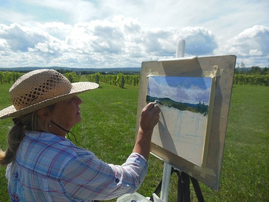Alanson, MI: painting the vines