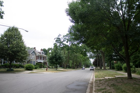Alma, MI: View of State Street from Saravilla front lawn